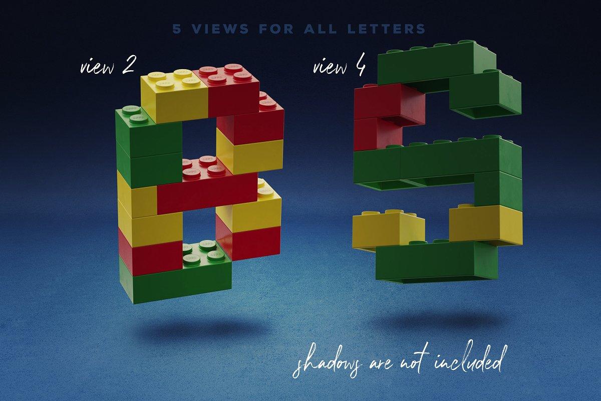 逼真乐高积木3D效果大写字母字体PS图层样式 Toy Bricks 3D Lettering插图(5)