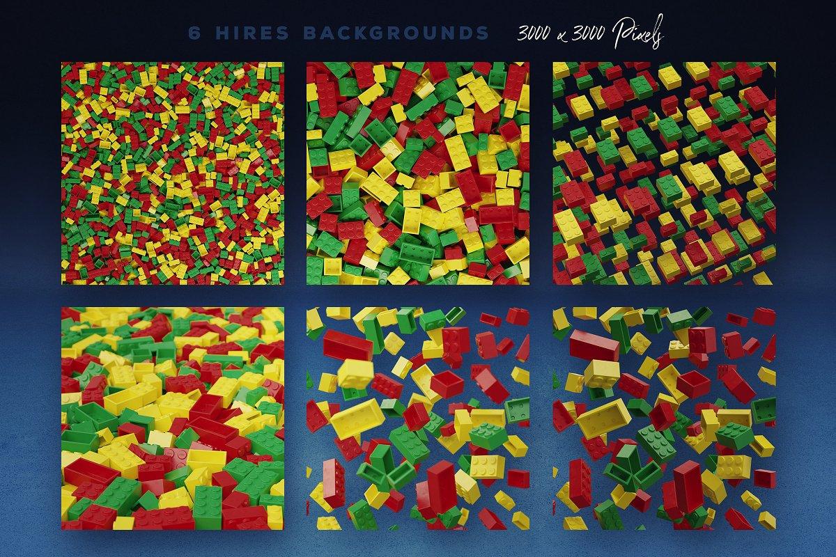 逼真乐高积木3D效果大写字母字体PS图层样式 Toy Bricks 3D Lettering插图(6)