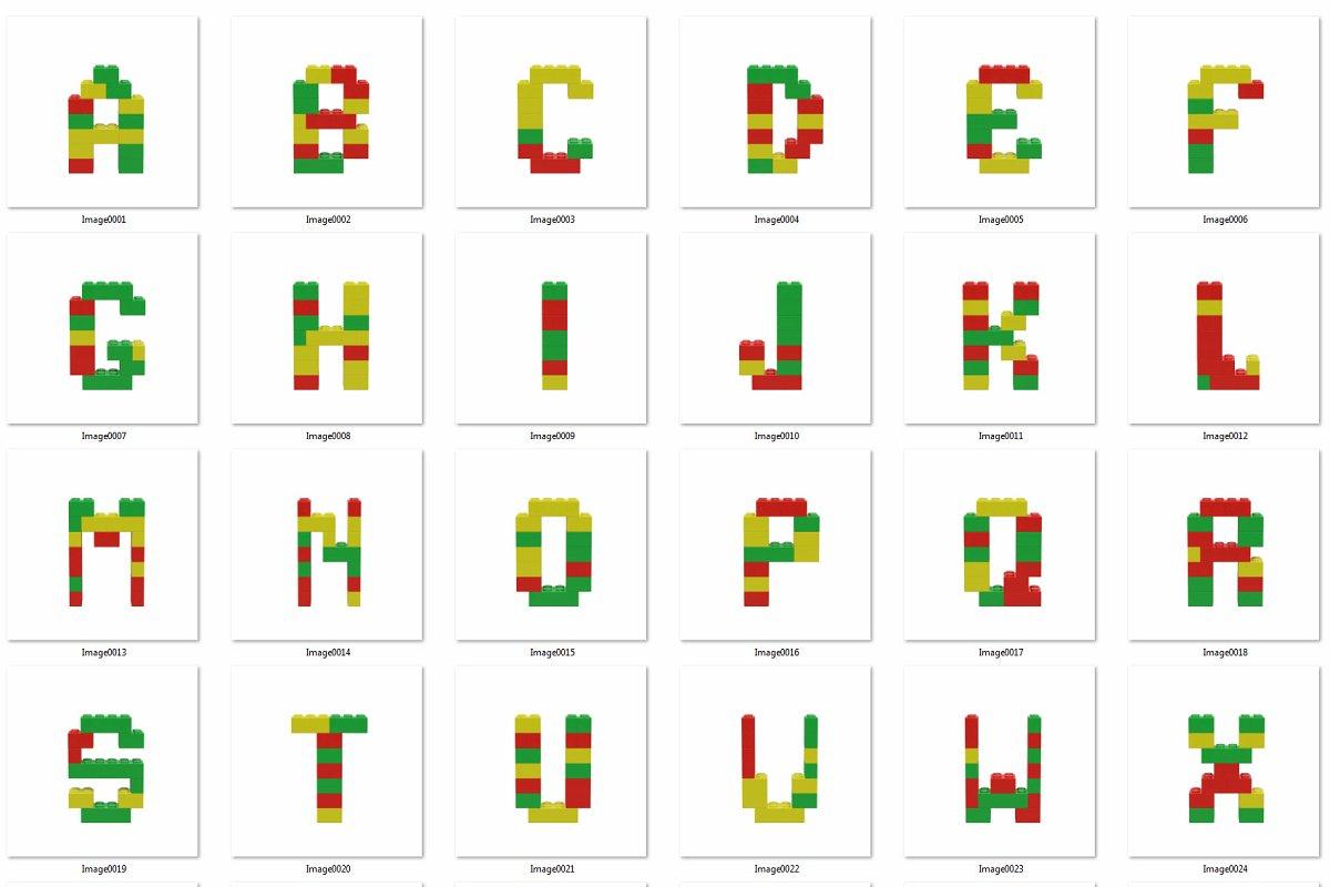逼真乐高积木3D效果大写字母字体PS图层样式 Toy Bricks 3D Lettering插图(9)
