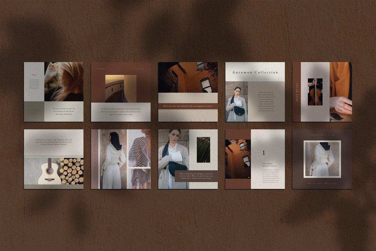 优雅时尚服装品牌故事Instagram推广社交设计素材包 Gemini Instagram Pack插图(3)