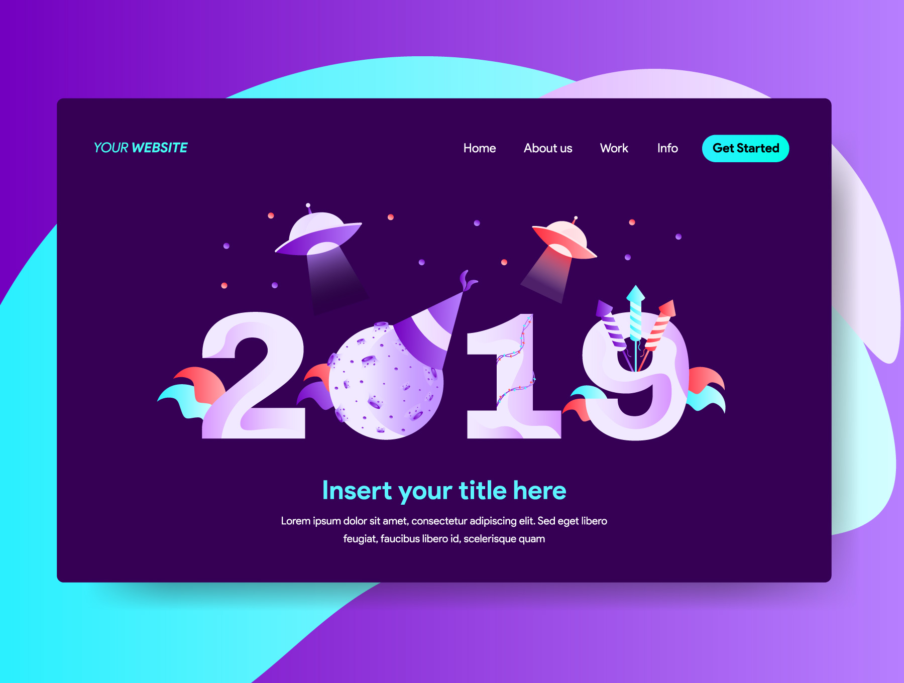 网站页面设计2019新年矢量概念插图素材 2019 New Year Illustrations插图