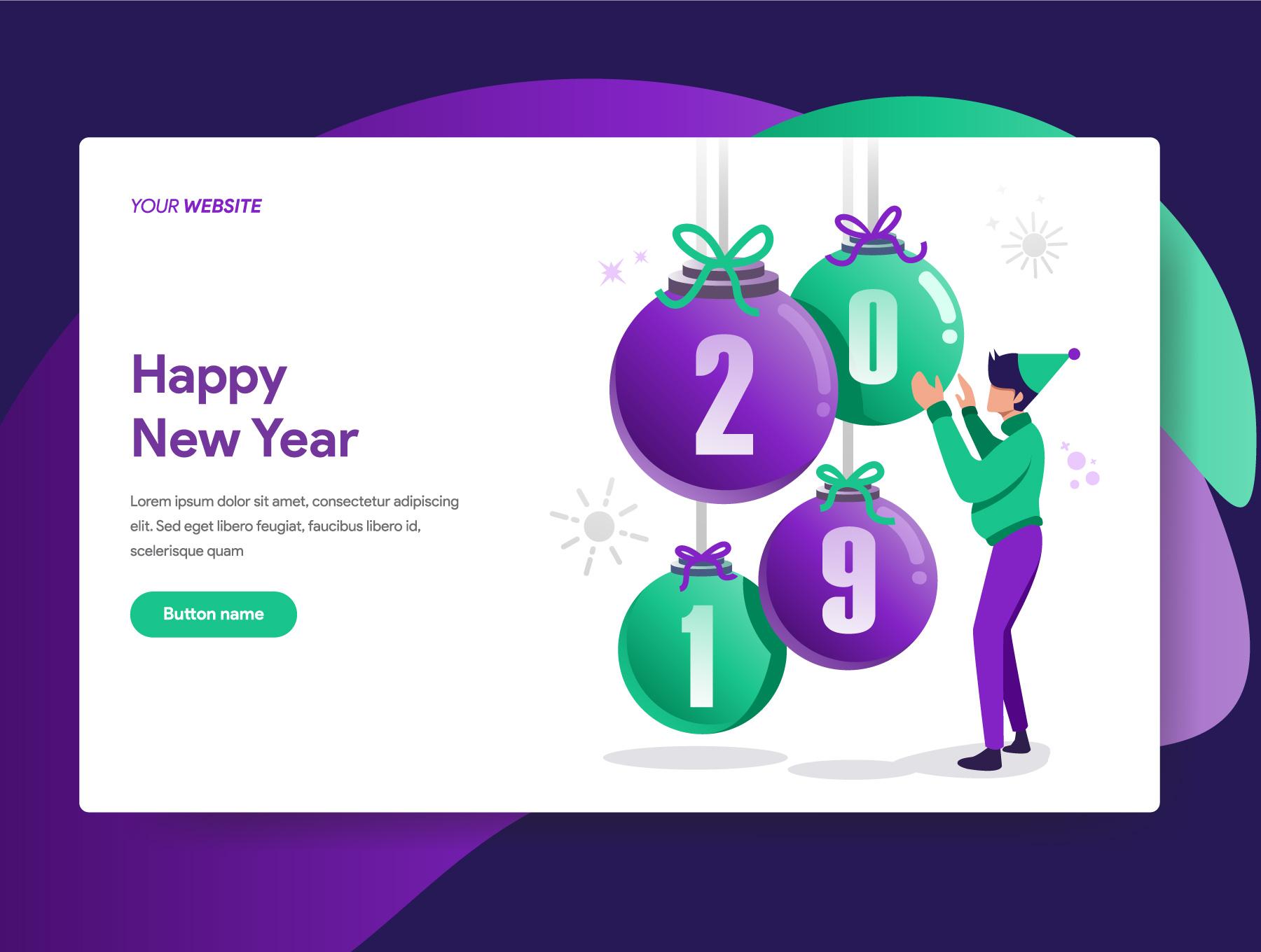 网站页面设计2019新年矢量概念插图素材 2019 New Year Illustrations插图(1)
