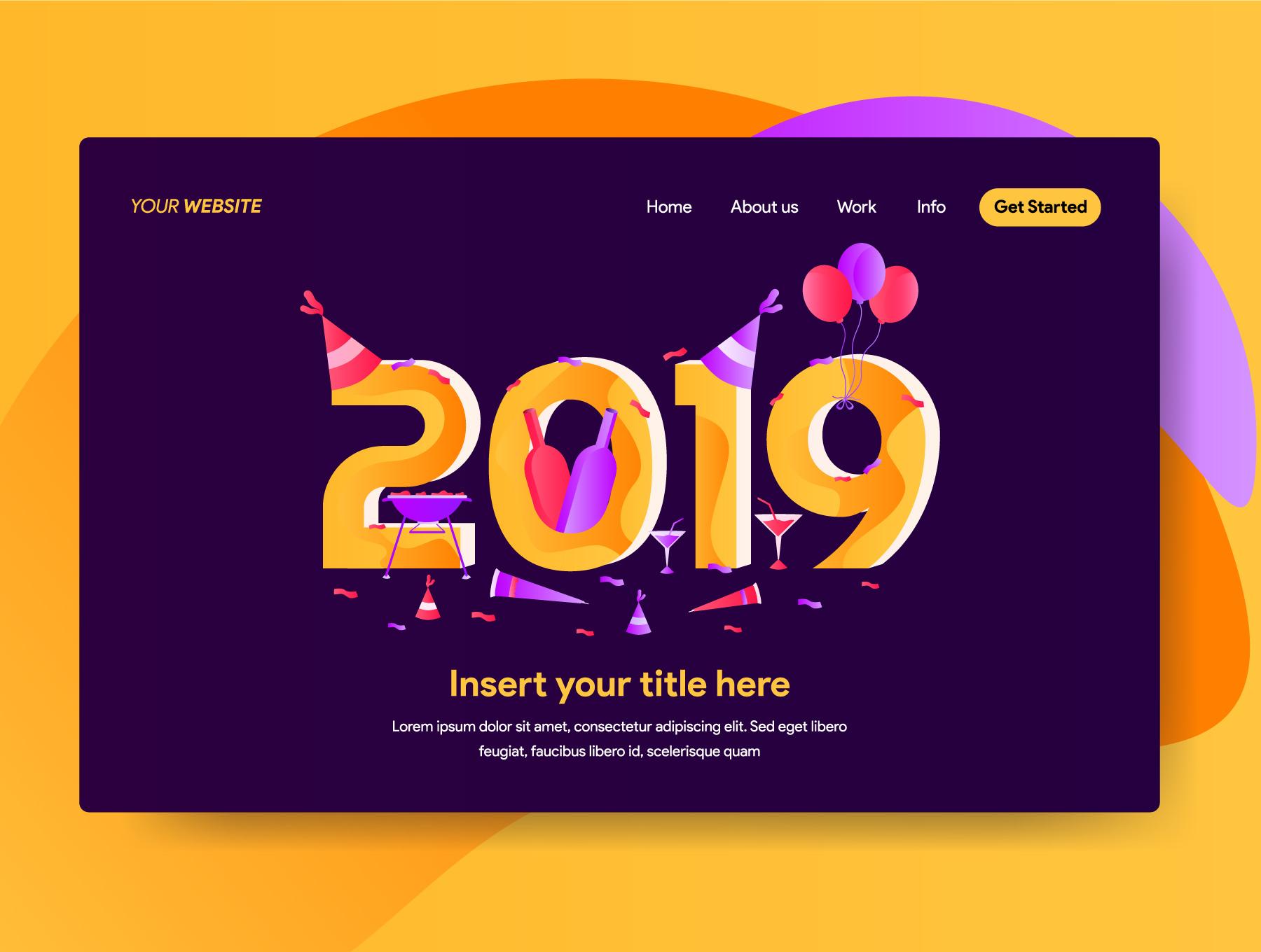 网站页面设计2019新年矢量概念插图素材 2019 New Year Illustrations插图(3)