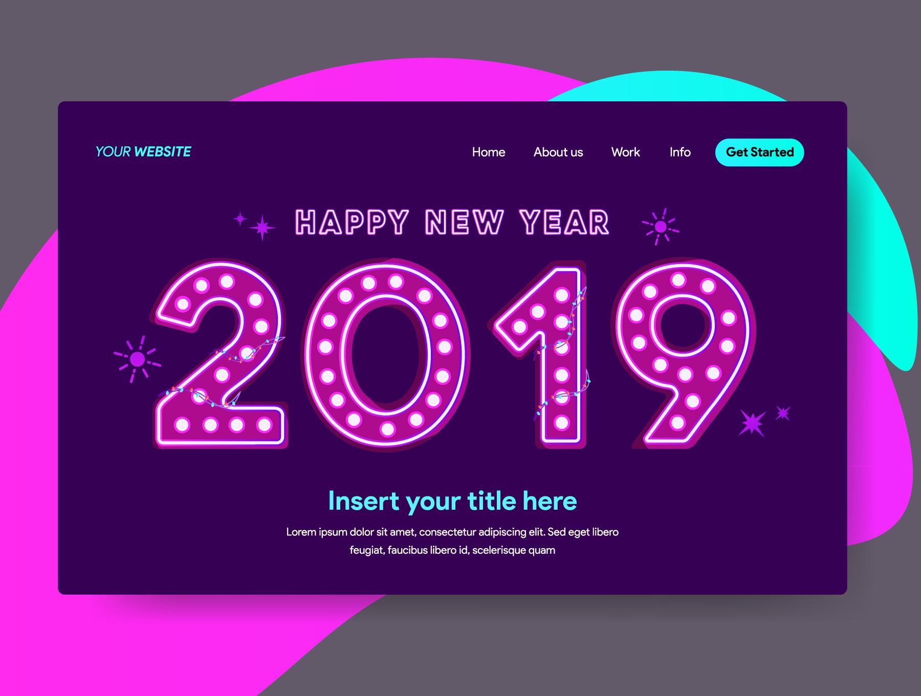 网站页面设计2019新年矢量概念插图素材 2019 New Year Illustrations插图(4)
