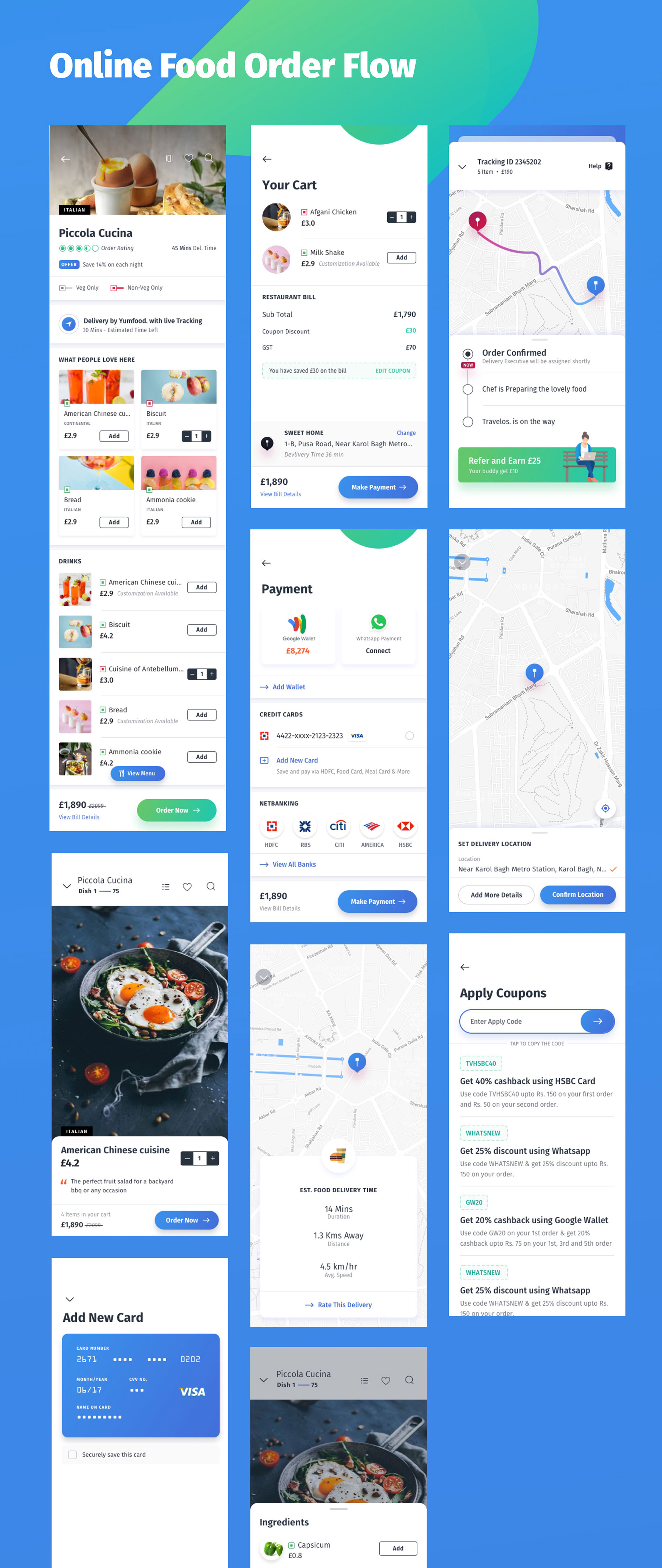 咖啡店酒店餐馆食品外卖APP应用程序UI界面设计套件 YumFood – Mobile App UI kit插图(7)