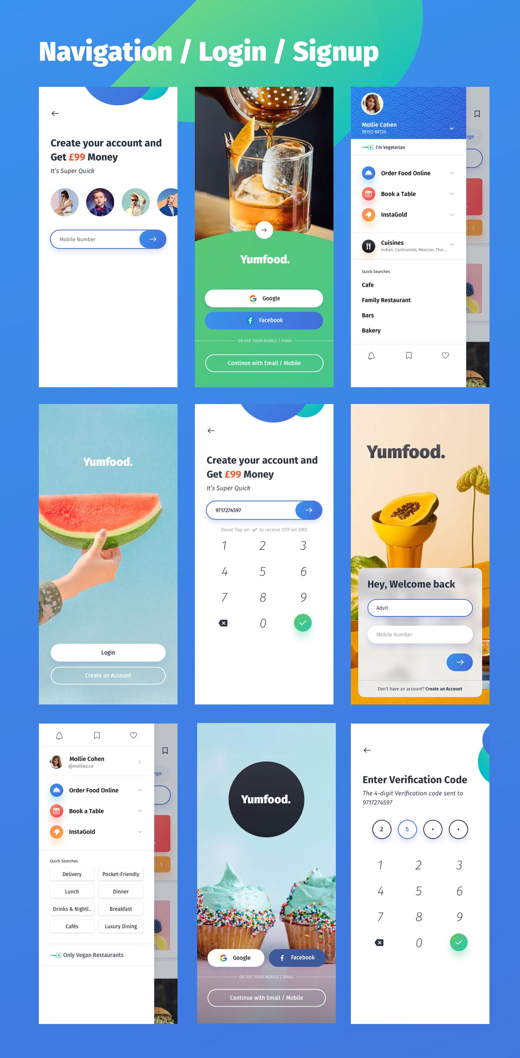 咖啡店酒店餐馆食品外卖APP应用程序UI界面设计套件 YumFood – Mobile App UI kit插图(10)