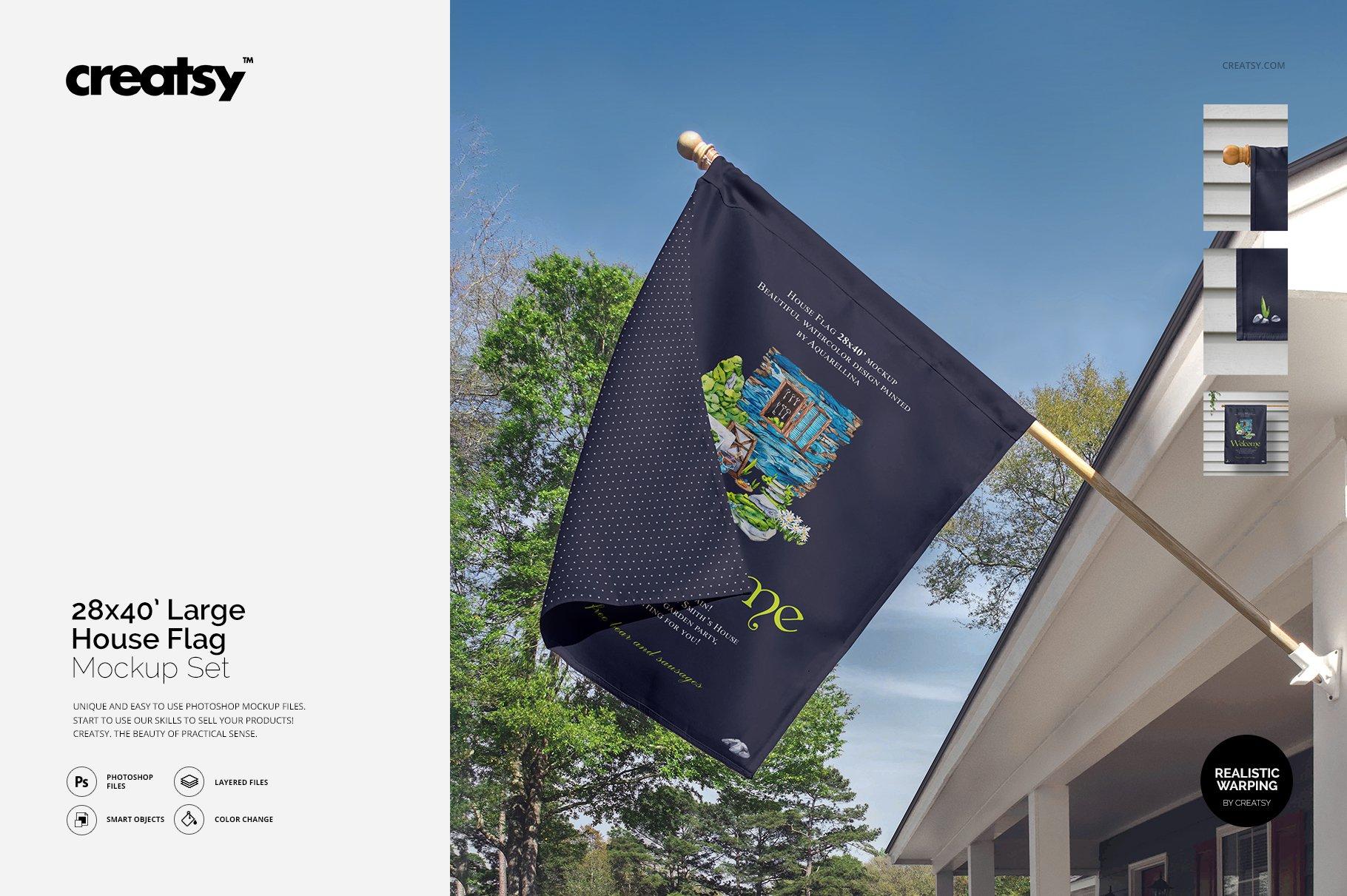 房屋悬挂旗帜设计展示图样机模板合集 Large House Flag Mockup Set插图