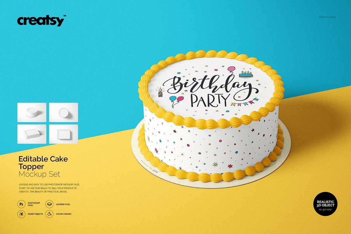 食用蛋糕礼帽外观设计效果图样机模板合集 Edible Cake Topper Mockup Set插图