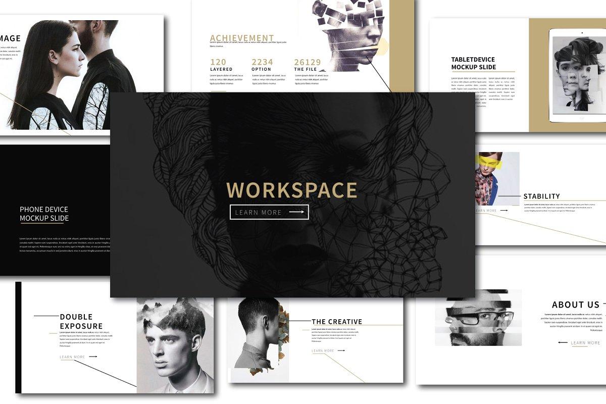 时尚创意时装作品集PPT幻灯片模板 Workspace Agancy Powerpoint插图