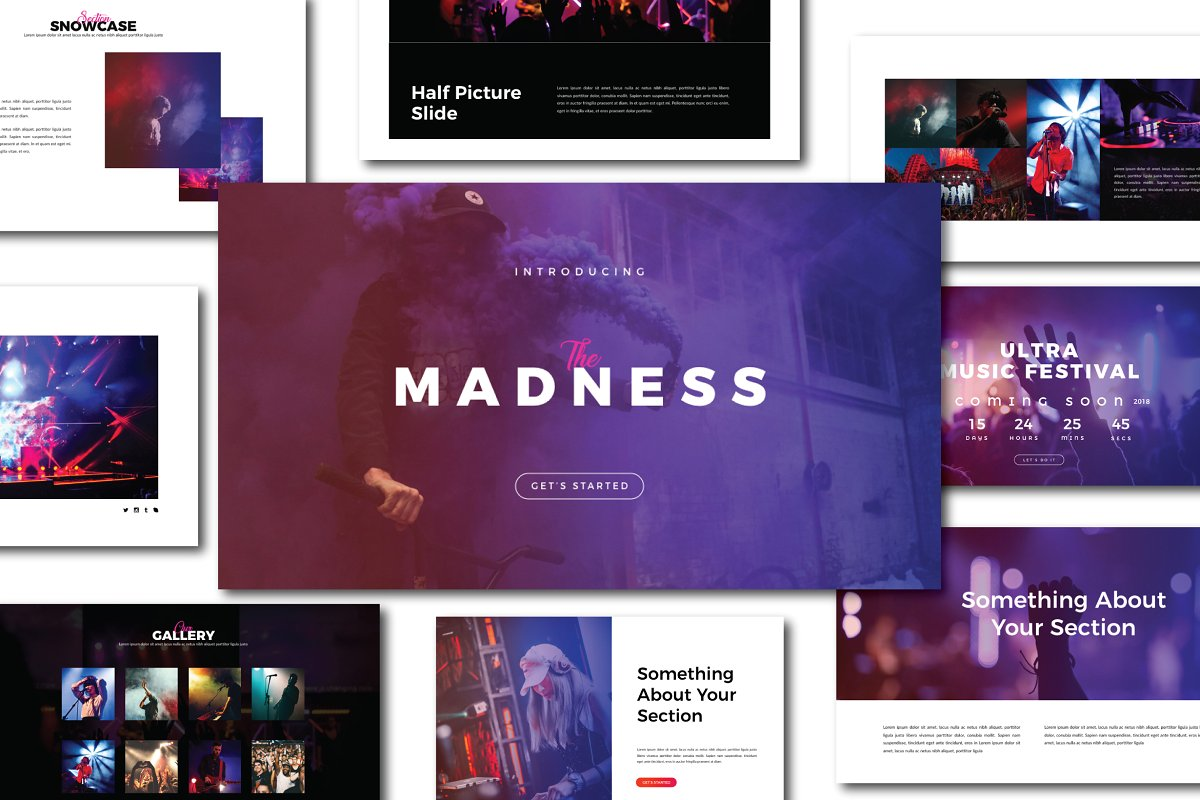 潮流演唱会音乐会策划案设计PPT幻灯片模板 Madness Powerpoint Template插图