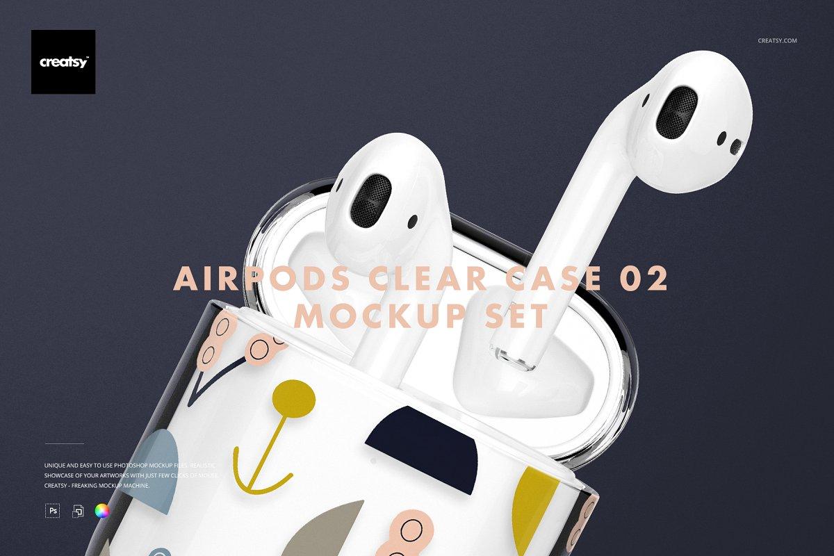 苹果蓝牙耳机AirPods透明收纳盒外观设计效果图样机模板02 AirPods Clear Case Mockup Set 02插图