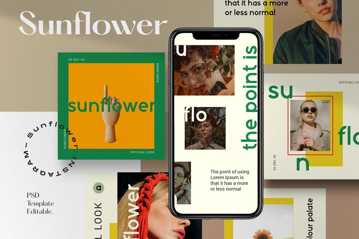 服装品牌故事社交推广设计模板素材包 Sunflower – Social Media Bundle插图