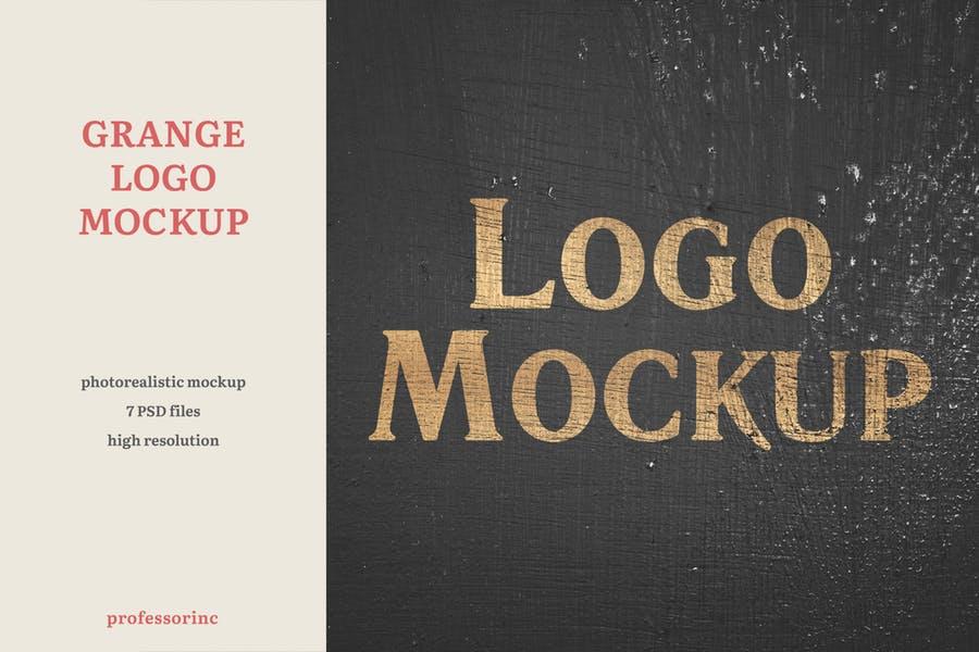 逼真LOGO设计效果图样机模板 Grange Logo Mockup插图