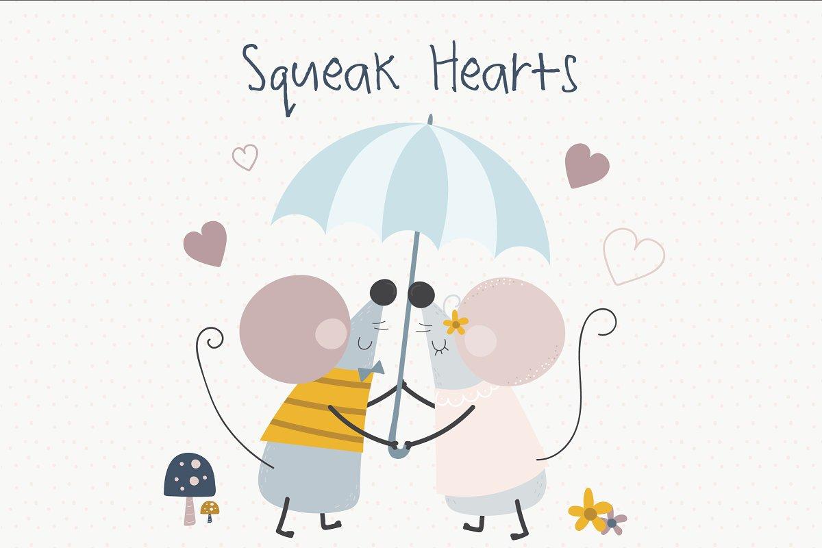 可爱的手绘情侣小老鼠矢量插画集 Squeak Hearts插图
