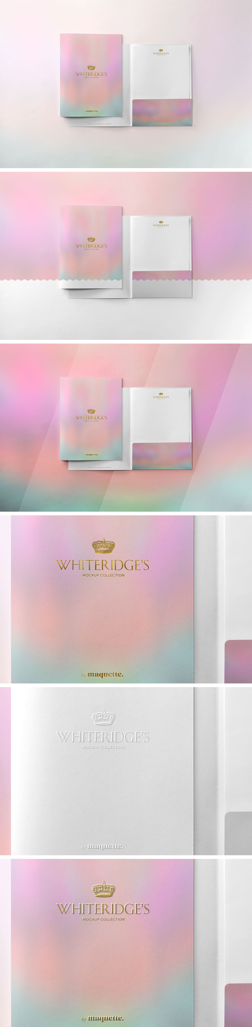豪华金压纹办公文具文件夹设计样机模板 Luxury Gold-Embossed Corporate Stationery Mockup 2插图