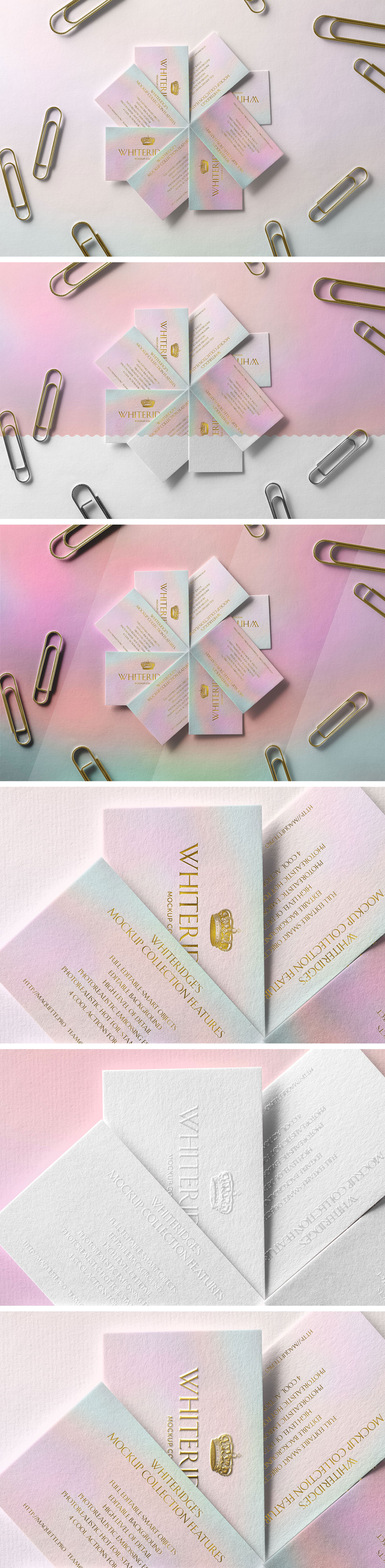 金色浮雕效果图名片设计样机模板 Fan of Luxury Business Cards with Gold Embossing Mockup 1插图