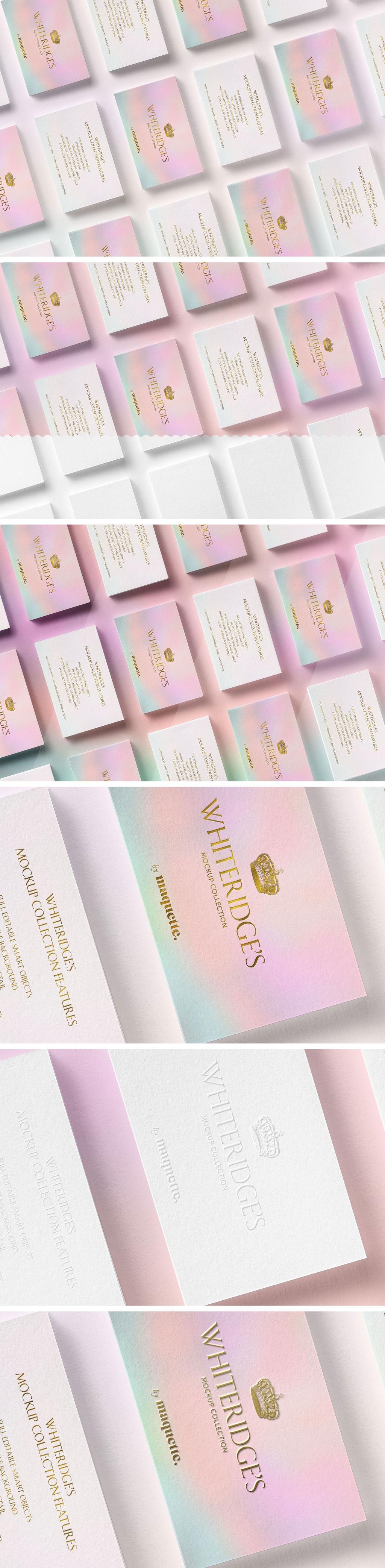 逼真豪华LOGO烫金效果图名片样机模板2 Array of Luxury Gold-Embossed Business Cards Mockup 2插图