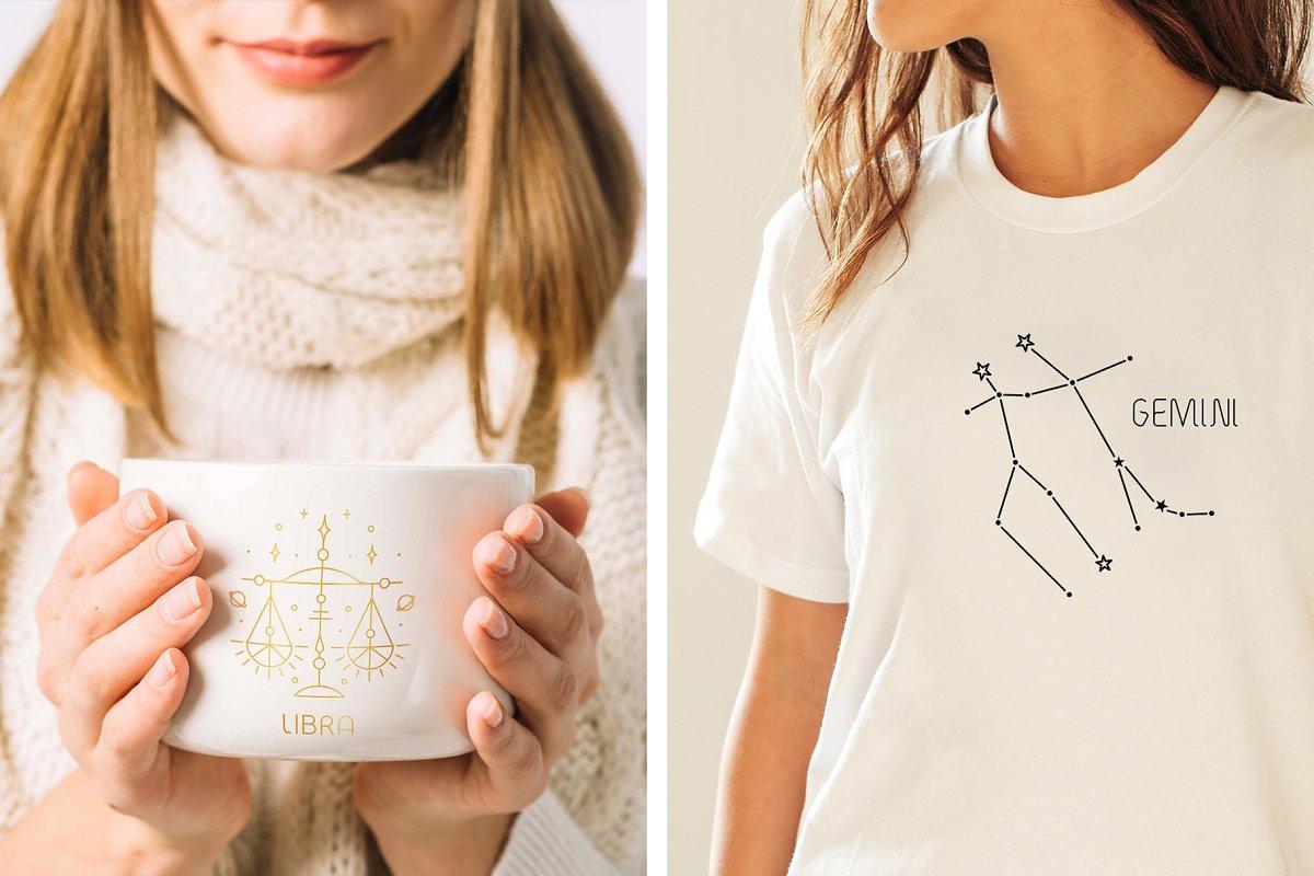 黄道十二宫生肖&星座矢量插图 Zodiac Signs and Constellation插图(10)
