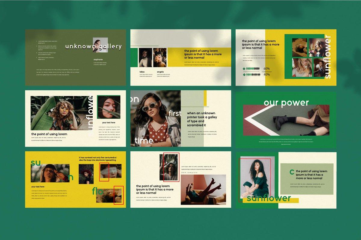 时尚潮流服装摄影作品集PPT演示文稿设计模板 Sunflower – Powerpoint插图(9)