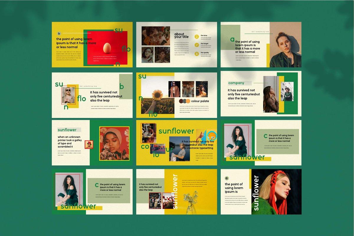 时尚潮流服装摄影作品集PPT演示文稿设计模板 Sunflower – Powerpoint插图(10)
