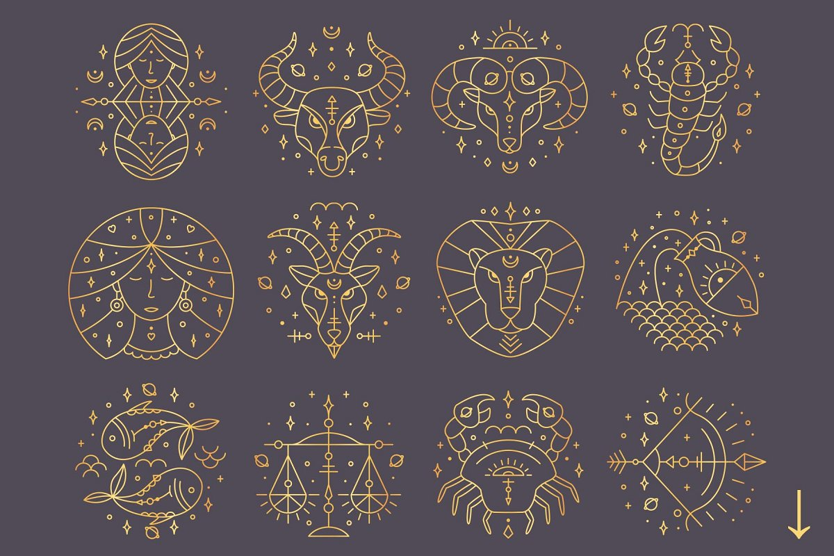 黄道十二宫生肖&星座矢量插图 Zodiac Signs and Constellation插图(12)