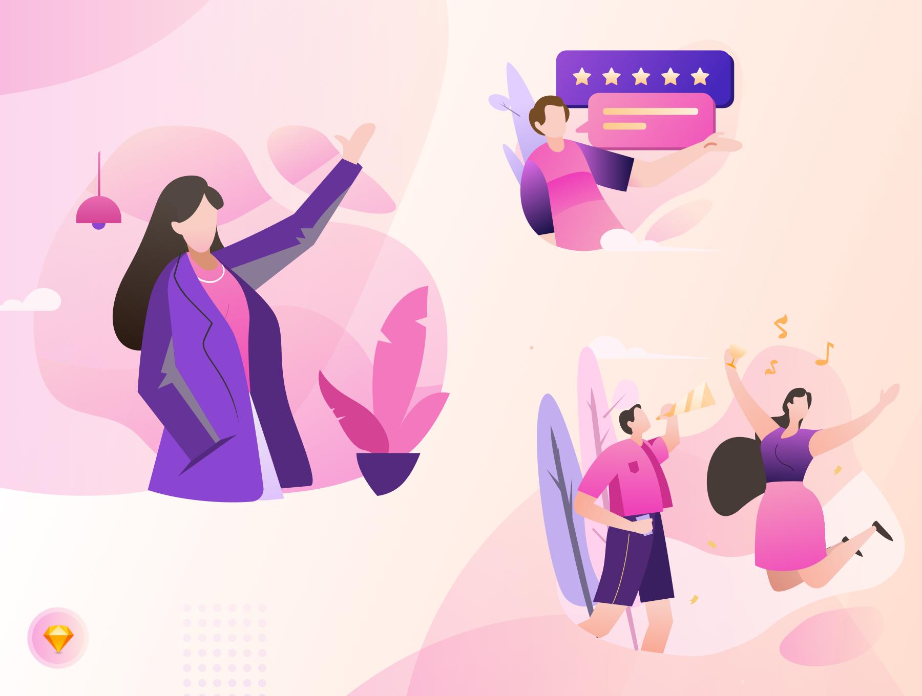 现代精美视频平台APP设计矢量插画素材包 Laras Video Illustration Pack插图(1)