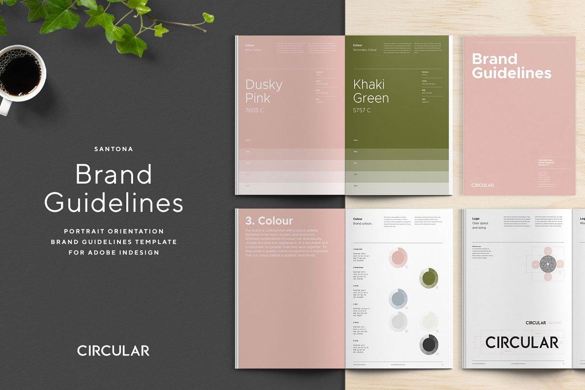 极简主义企业品牌规范VI手册设计INDD模板 SANTONA / Brand Guidelines插图