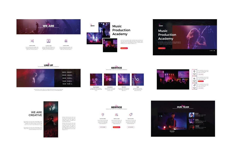 潮流演唱会音乐会策划案设计PPT幻灯片模板 Madness Powerpoint Template插图(1)