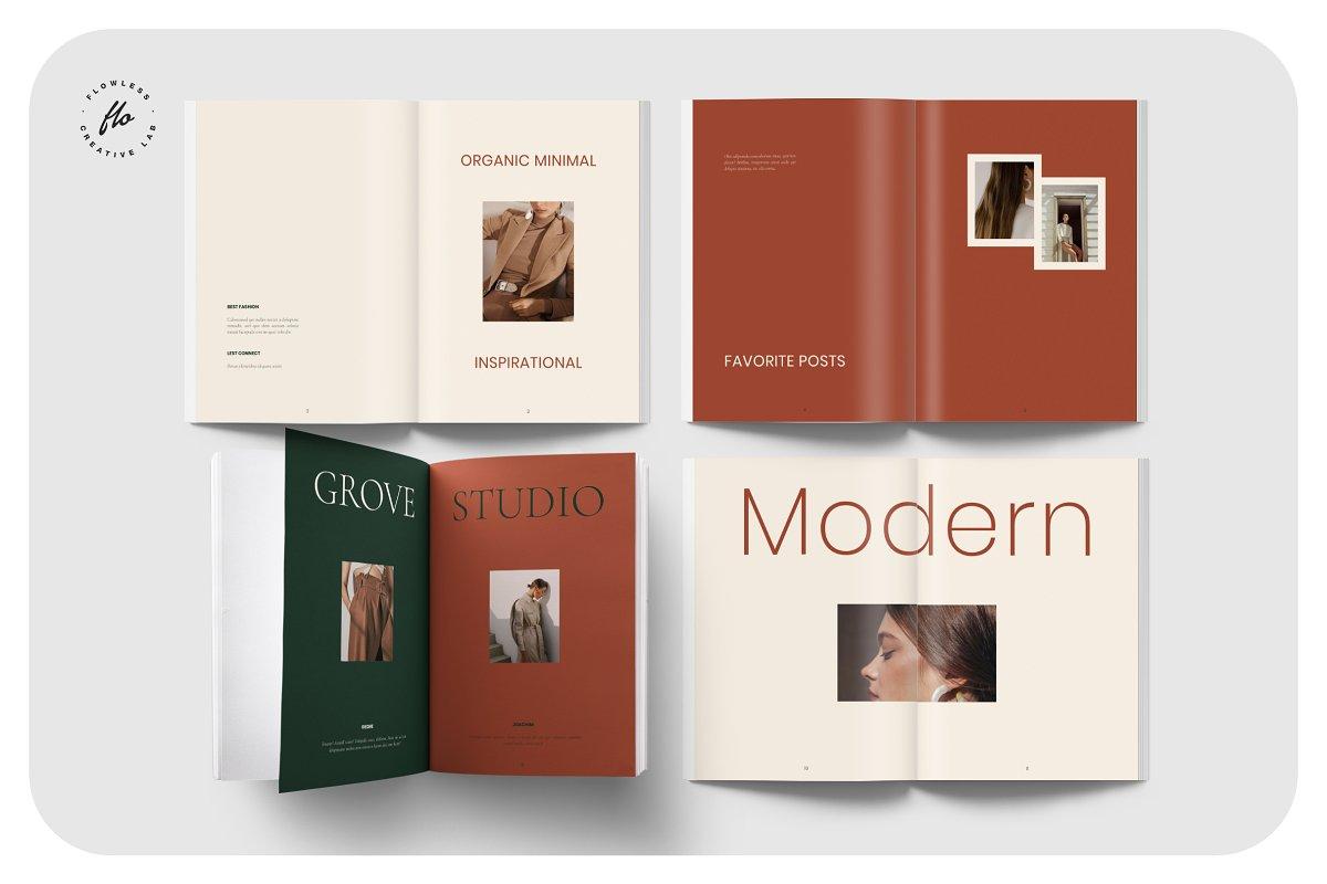 国际大牌服装设计摄影作品集杂志宣传画册目录INDD模板 GROVE Editorial Lookbook Magazine插图(1)