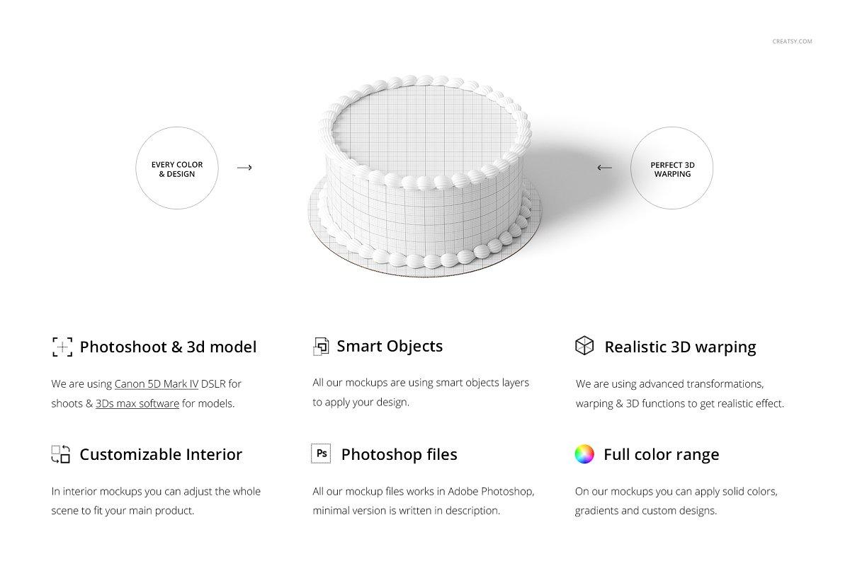食用蛋糕礼帽外观设计效果图样机模板合集 Edible Cake Topper Mockup Set插图(1)