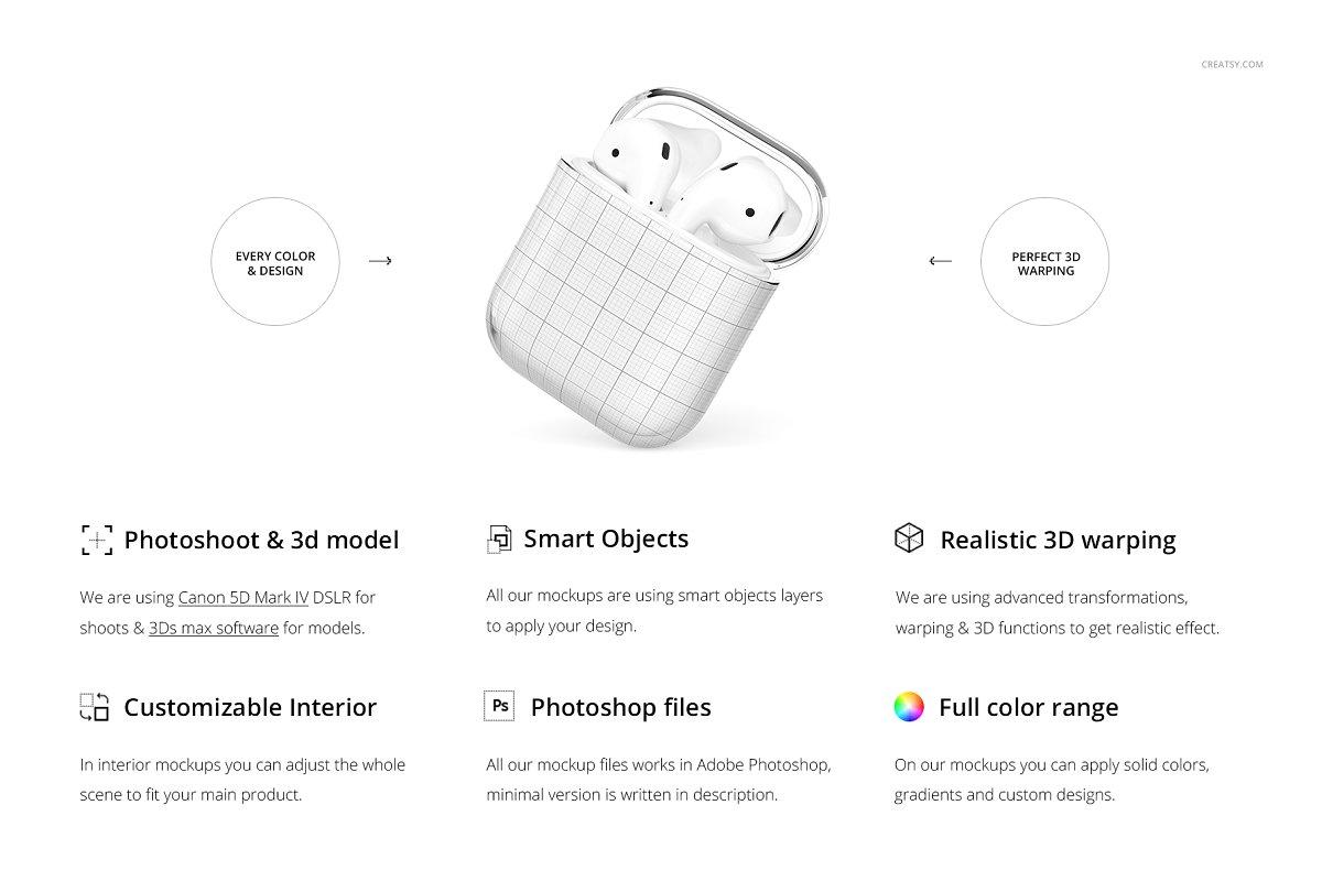 苹果蓝牙耳机AirPods透明收纳盒外观设计效果图样机模板02 AirPods Clear Case Mockup Set 02插图(1)