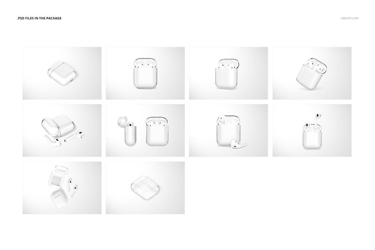 苹果蓝牙耳机AirPods透明收纳盒外观设计效果图样机模板02 AirPods Clear Case Mockup Set 02插图(2)