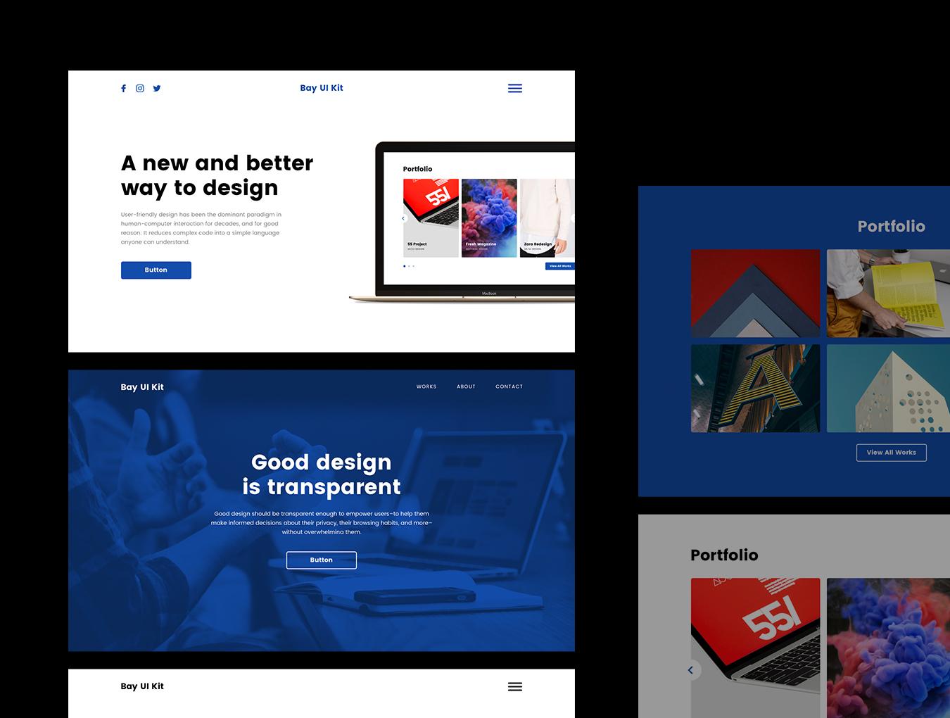 现代简约摄影设计工作室WEB网站UI界面设计模板 Bay UI Kit插图(1)