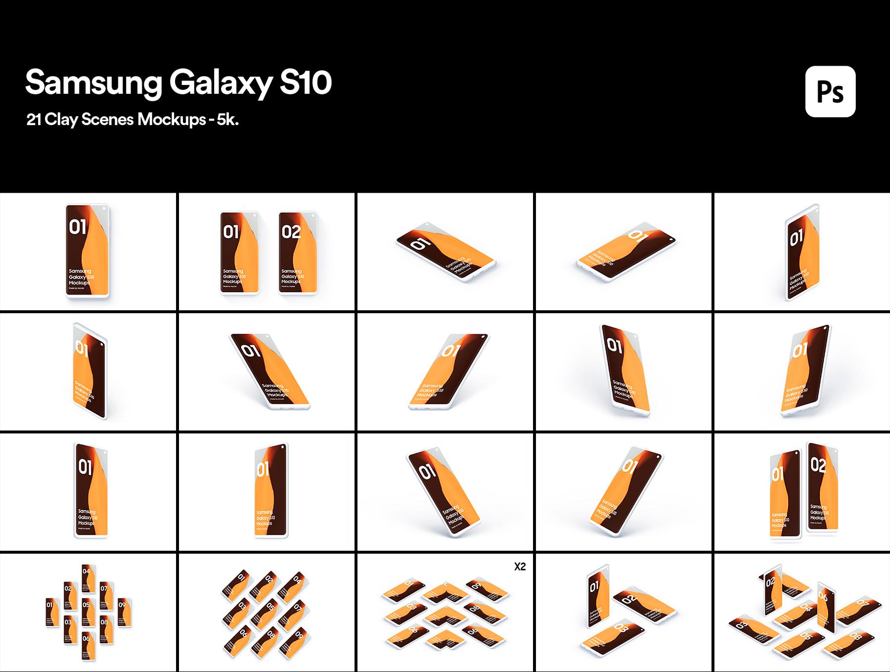 陶瓷质感三星Galaxy S10智能手机样机模板 Samsung Galaxy S10 – 21 Clay Mockups插图(1)