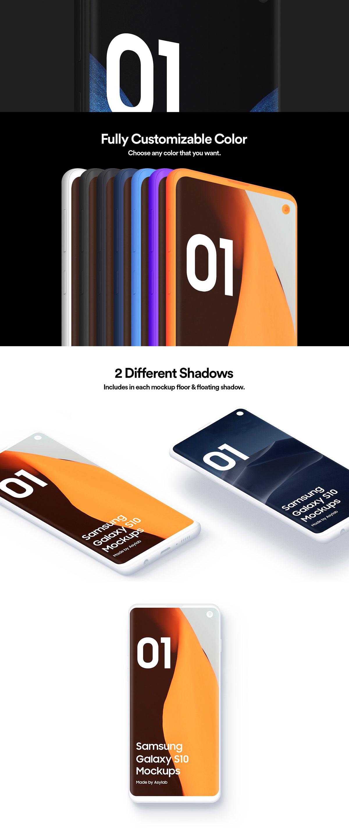 陶瓷质感三星Galaxy S10智能手机样机模板 Samsung Galaxy S10 – 21 Clay Mockups插图(9)