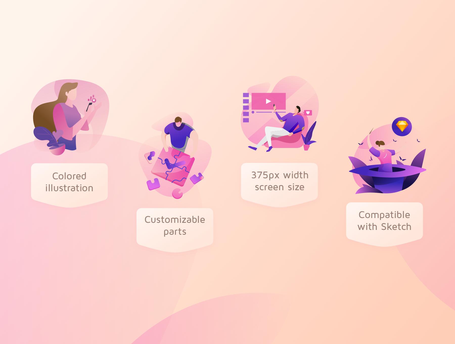 现代精美视频平台APP设计矢量插画素材包 Laras Video Illustration Pack插图(5)