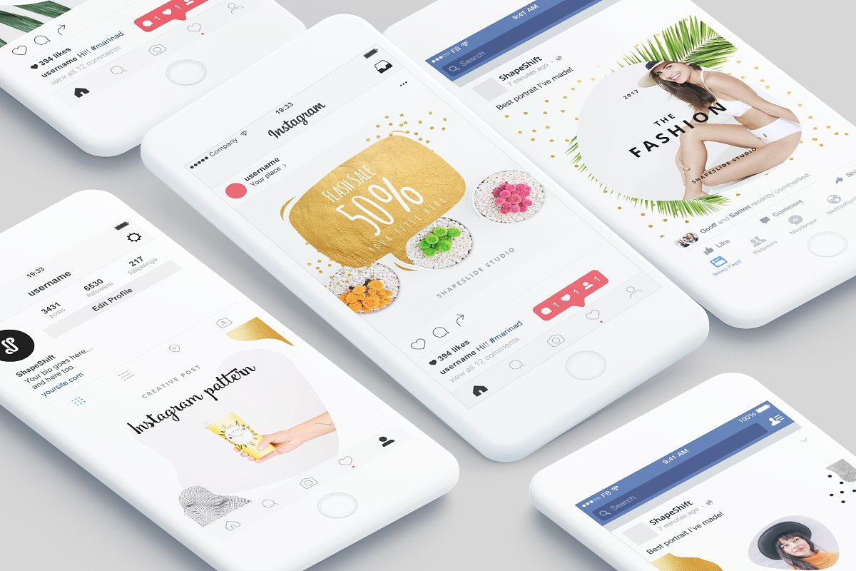 方形抽象图形服装品牌Instagram推广贴文广告模板 PATTERN Animated Instagram Posts插图(1)