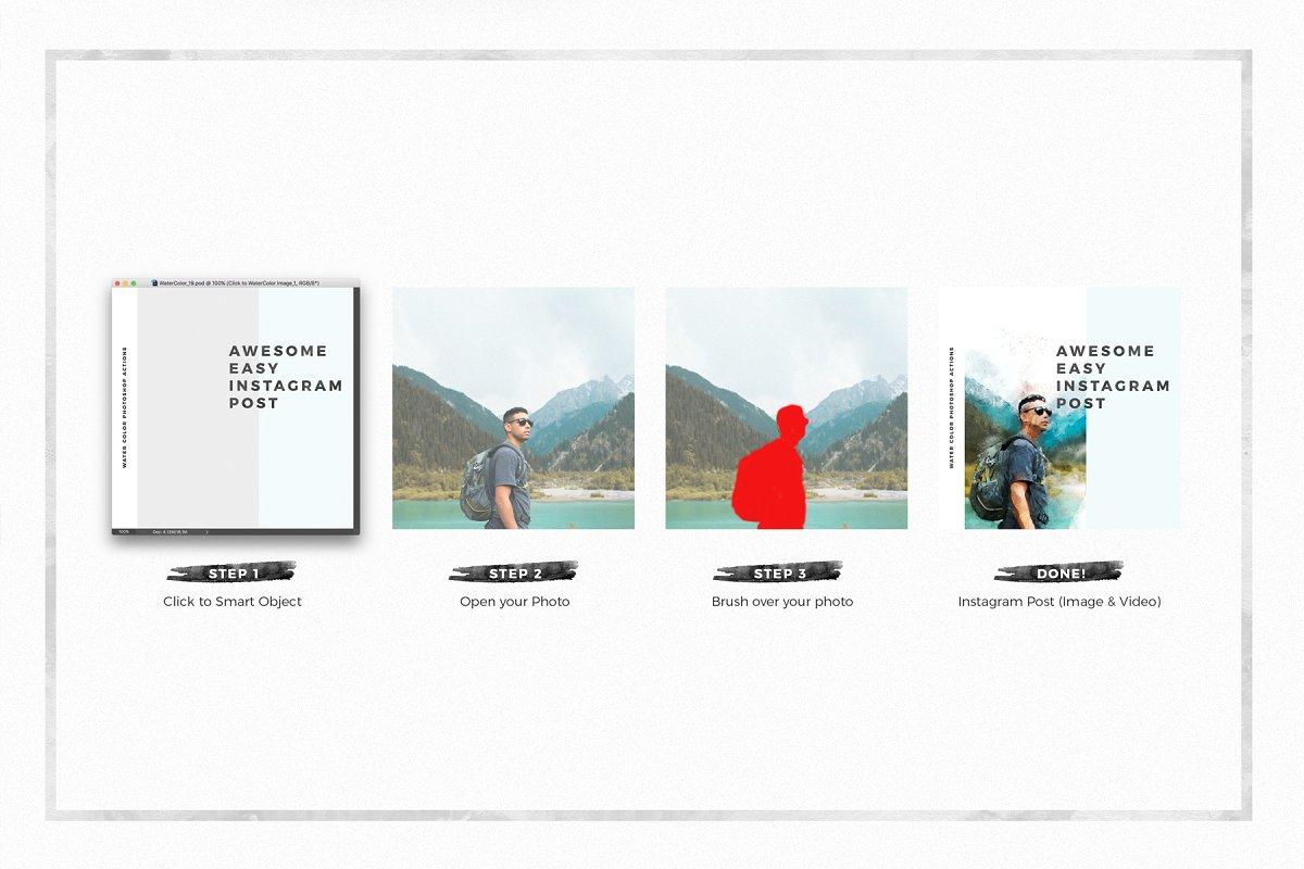 水彩画风格品牌故事Instagram推广社交媒体设计素材包 WaterColor Animated Instagram Posts插图(1)