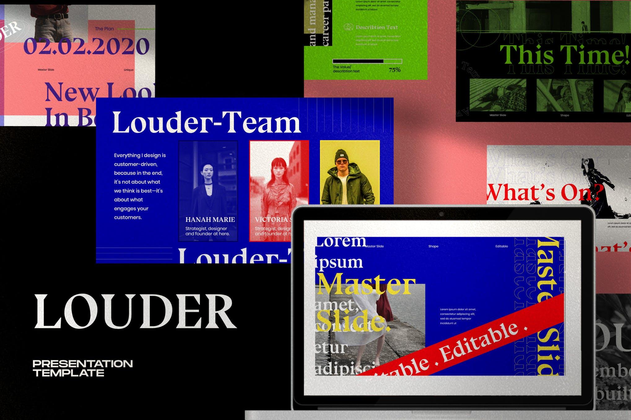 现代潮流配色演示幻灯片设计模板 Louder – Urban Powerpoint插图