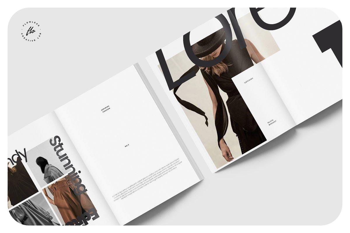极简主义女性服装摄影作品集宣传画册设计INDD模板 CLARE Photography Lookbook插图(2)