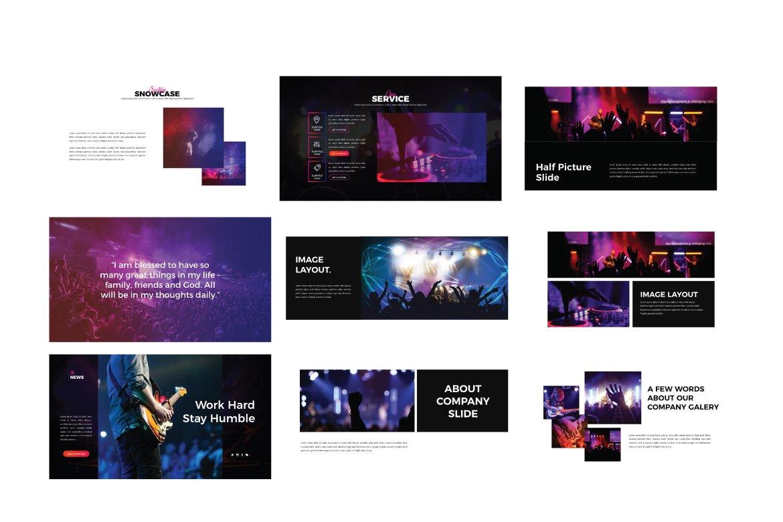 潮流演唱会音乐会策划案设计PPT幻灯片模板 Madness Powerpoint Template插图(2)