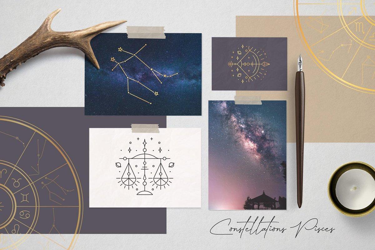 黄道十二宫生肖&星座矢量插图 Zodiac Signs and Constellation插图(2)
