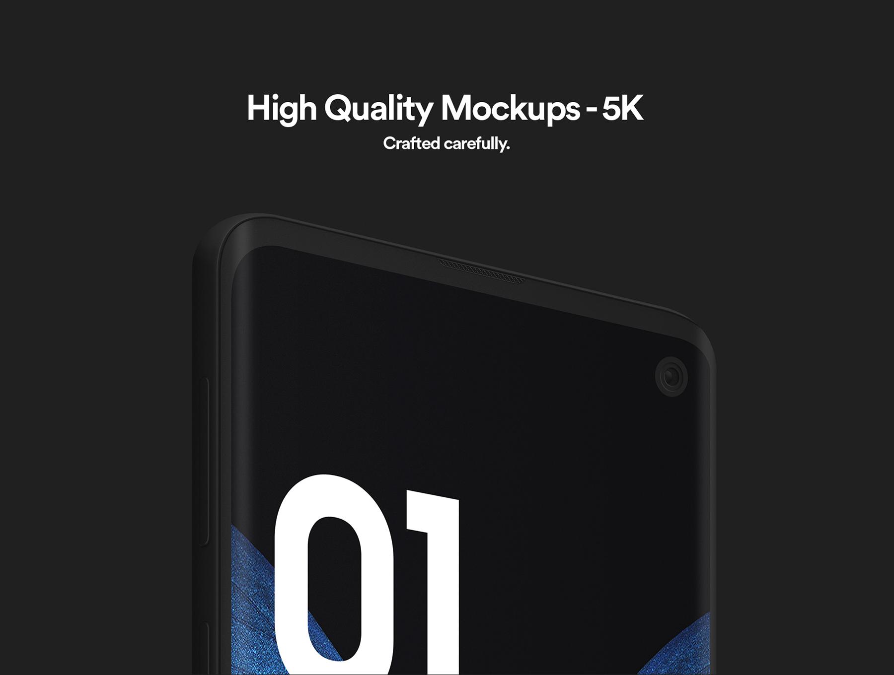 陶瓷质感三星Galaxy S10智能手机样机模板 Samsung Galaxy S10 – 21 Clay Mockups插图(2)