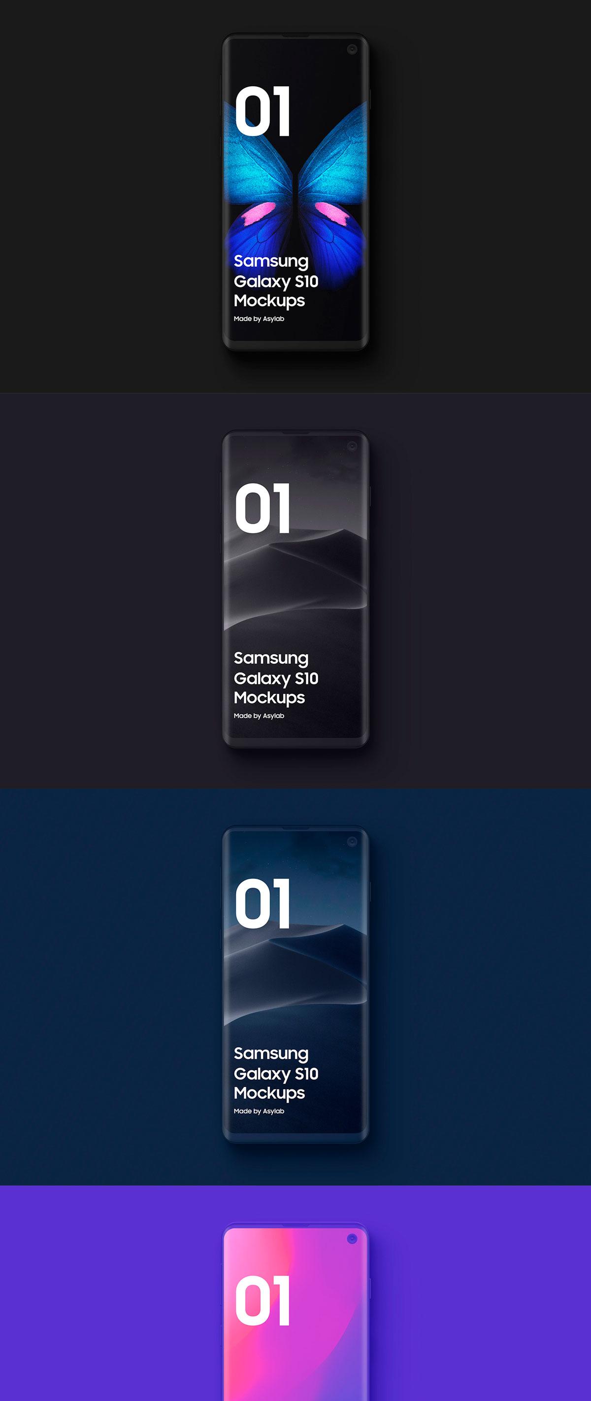 陶瓷质感三星Galaxy S10智能手机样机模板 Samsung Galaxy S10 – 21 Clay Mockups插图(10)