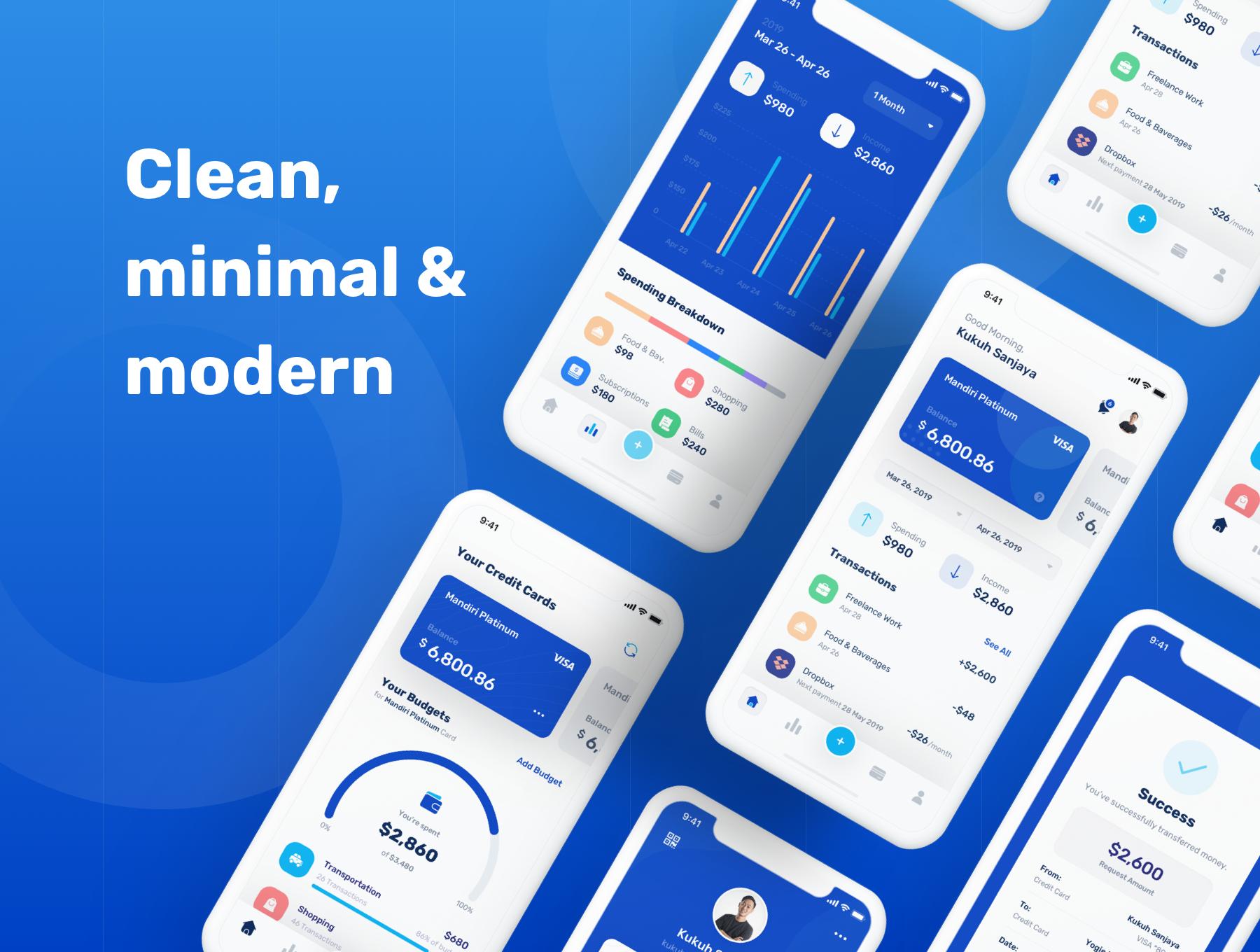 蓝色调金融银行财务管理APP应用程序UI界面设计套件 Banky – Finance App UI Kit插图(3)