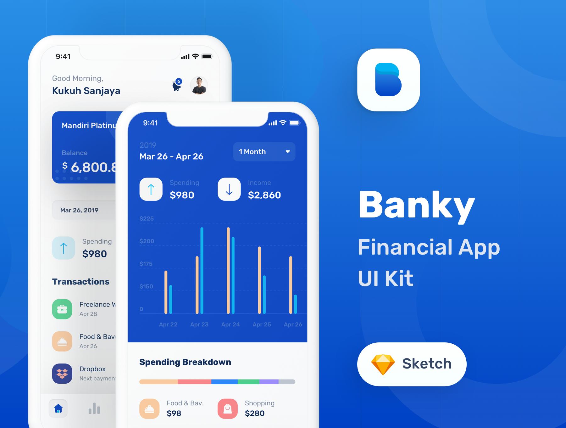 蓝色调金融银行财务管理APP应用程序UI界面设计套件 Banky – Finance App UI Kit插图