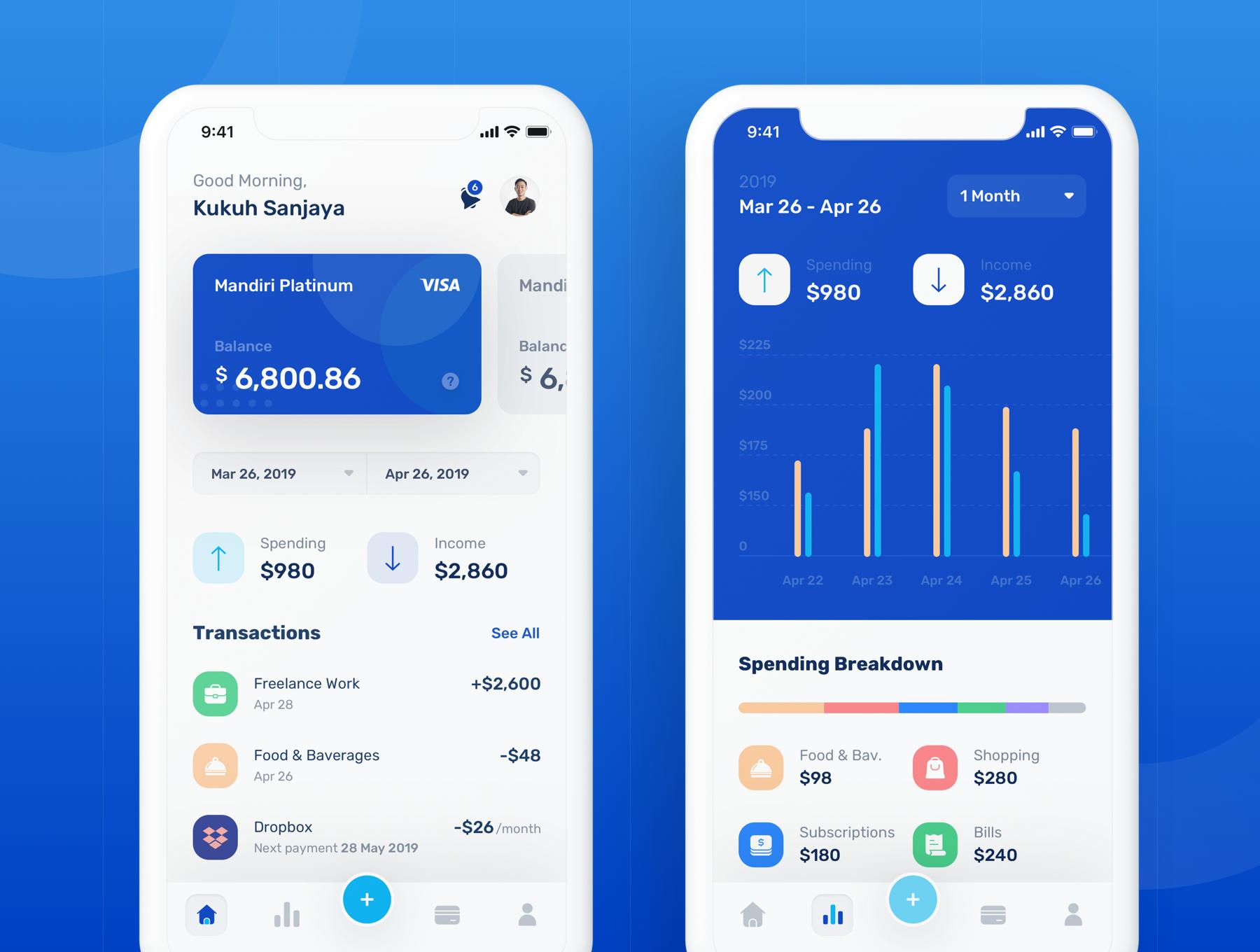 蓝色调金融银行财务管理APP应用程序UI界面设计套件 Banky – Finance App UI Kit插图(4)