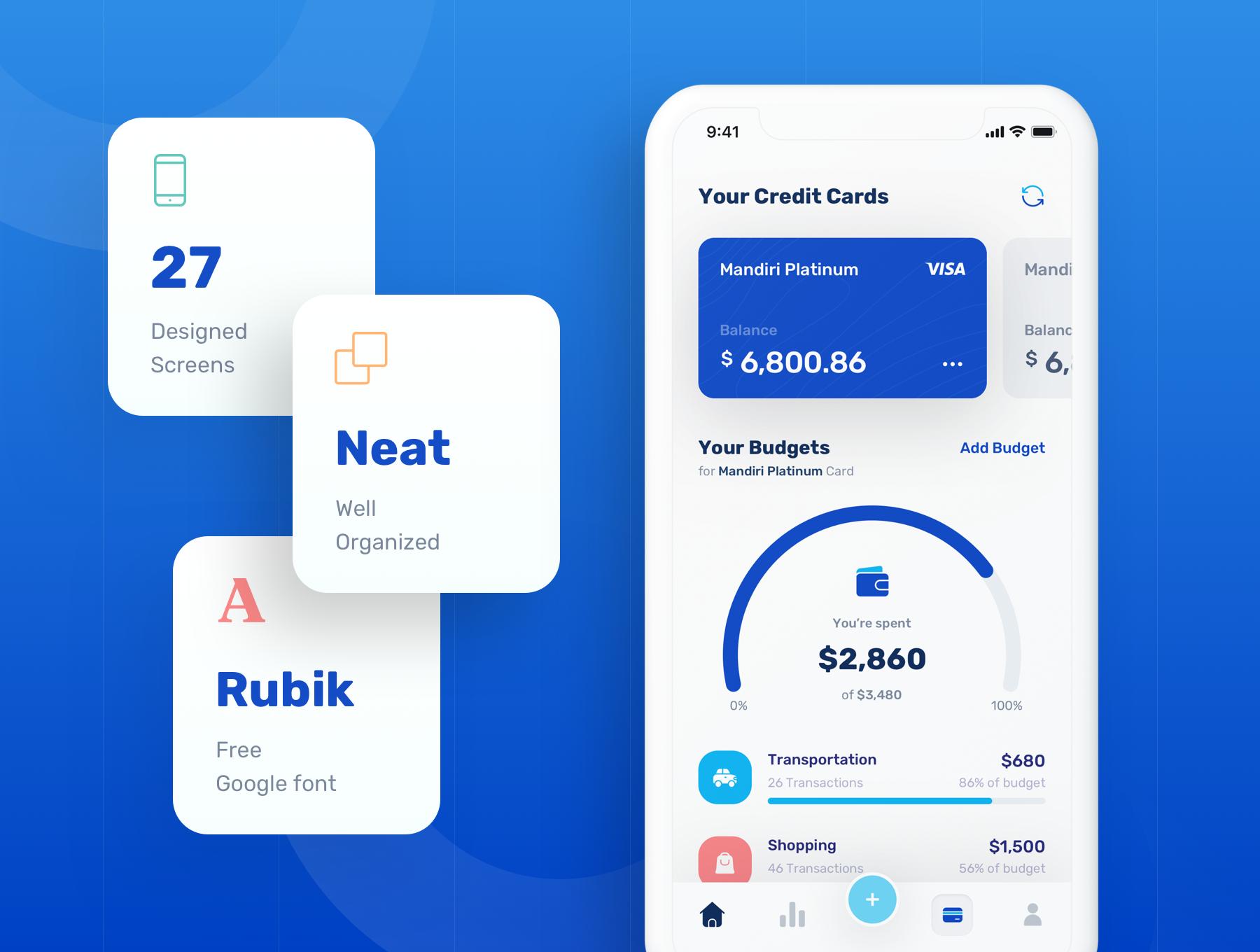 蓝色调金融银行财务管理APP应用程序UI界面设计套件 Banky – Finance App UI Kit插图(1)
