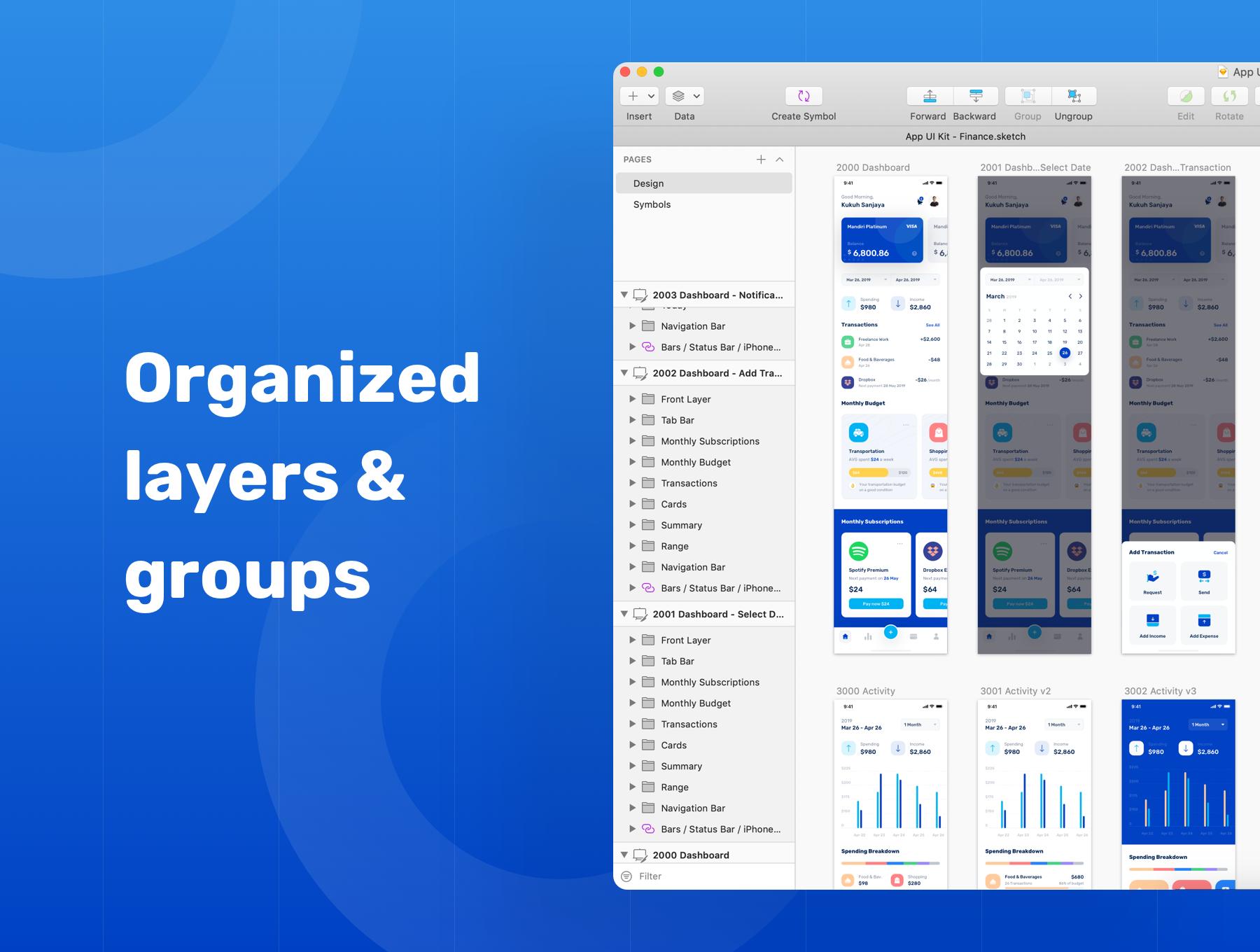 蓝色调金融银行财务管理APP应用程序UI界面设计套件 Banky – Finance App UI Kit插图(2)
