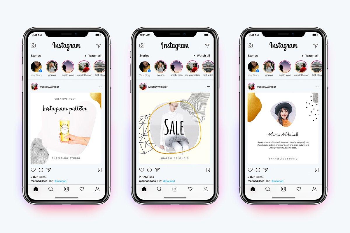 方形抽象图形服装品牌Instagram推广贴文广告模板 PATTERN Animated Instagram Posts插图(2)